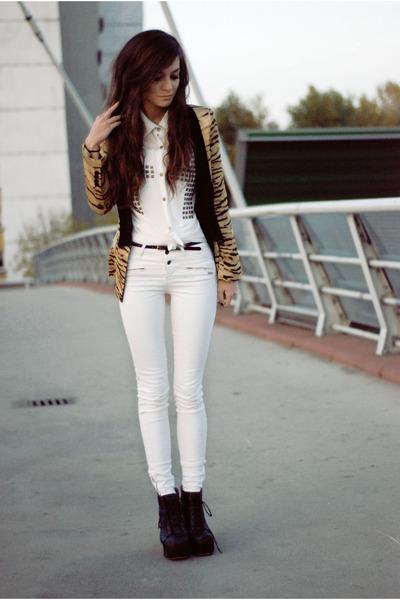 476467ab6272 White Cross Romwe Shirts, Leopard Print Zara Blazers |