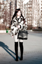 white fur H&M coat - black over the knee Zara boots