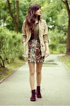 jacquard Zara skirt - crimson martens H&M boots