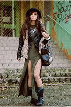 black leather jacket reserved jacket - olive green asymmetrical lulus dress