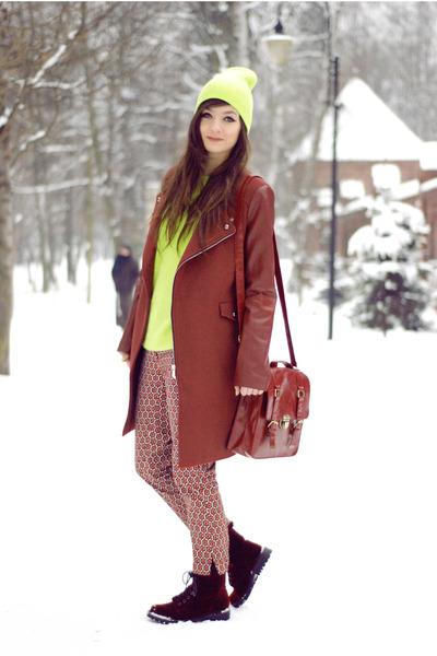 crimson wool Sheinside coat - crimson red romwe bag
