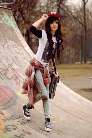 black rocker Converse shoes - black black Zara shirt - sky blue wash H&M pants