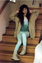 beige wool romwe jumper - light blue mint Zara pants