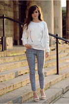white minimal Choies blouse - ethnic Zara pants