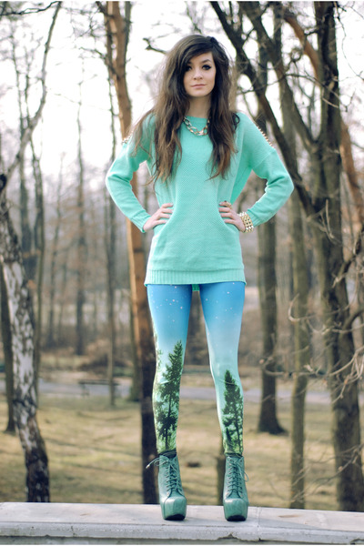 aquamarine stunds romwe jumper - light blue blackmilk Sheinside leggings
