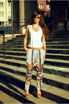 boho Zara pants - burnt orange sandals lulus wedges
