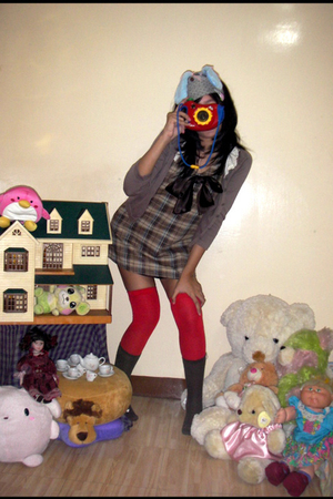 brown Air france socks - red socks - brown Gingersnaps dress - gray Icing scarf