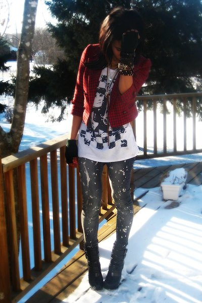 black Alice and Olivia boots - red Forever 21 jacket - Forever 21 jeans - Foreve