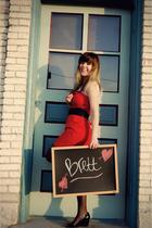 red Forever 21 dress - black Ralph Lauren shoes - black J Crew tights