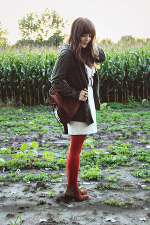 burnt orange Target tights - brown Wanted boots - ivory Shop Ruche dress