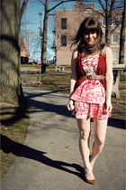 brown Urban Outfitters shoes - pink modcloth dress - brown Forever 21 belt