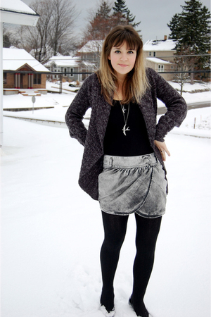 black American Apparel dress - black unknown brand tights - gray Zara skirt - bl
