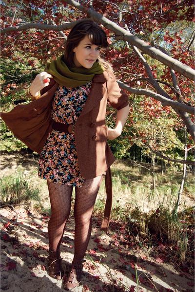 brown Forever 21 coat - brown modcloth boots - black vintage dress