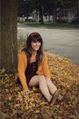 Brown-lulus-dress-yellow-urban-outfitters-cardigan-brown-urban-outfitters-sh