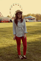 red Target jeans - neutral modcloth hat - black modcloth flats