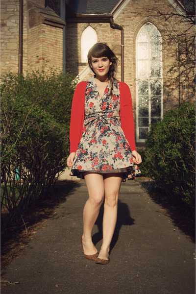 red The Limited cardigan - brown ecote via urban outfitters shoes