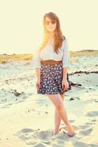 blue thrifted skirt - orange modcloth sunglasses - brown Forever 21 belt