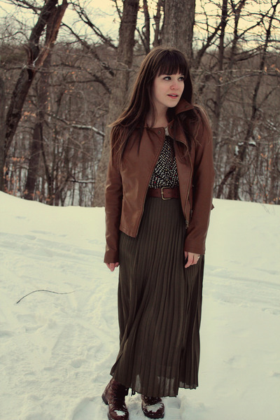 brown Target boots - black modcloth dress - brown Forever 21 jacket