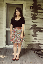 tawny Forever 21 skirt - tawny Urban Outfitters flats - black Forever 21 top