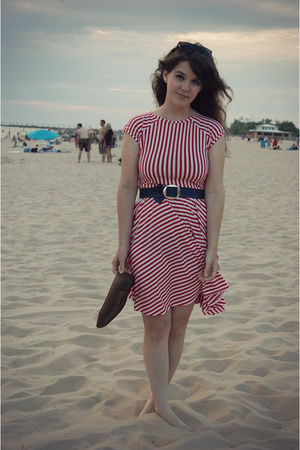 red Shabby Apple dress - blue thrifted belt - brown ecote via urban outfitters s