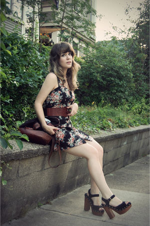 black Shop Ruche dress - black Urban Outfitters purse - brown Urban Outfitters b