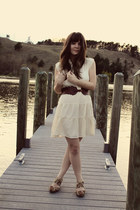 off white Forever 21 dress - tan Jeffrey Campbell wedges - dark brown Urban Outf