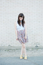 blue Forever 21 skirt - white sosie top - gold modcloth sandals