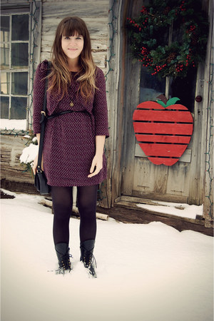 black Jeffrey Campbell boots - crimson modcloth dress - black Target tights