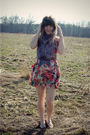 Pink-modcloth-dress-gray-modcloth-scarf-brown-urban-outfitters-shoes-brown