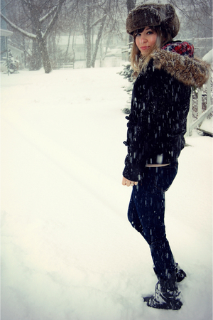 black zenana outfitters coat - blue Old Navy jeans - black Jeffrey Campbell boot