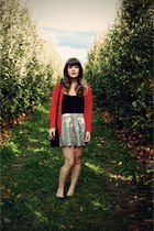 white modcloth skirt - red The Limited cardigan - black Urban Outfitters purse -