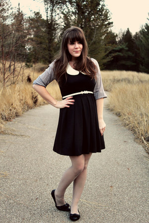 black Shop Ruche dress - heather gray modcloth top - black Blowfish Shoes flats