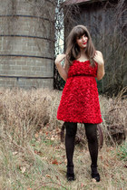red modcloth dress - black Forever 21 tights - black Steve Madden wedges