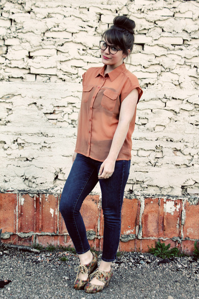 salmon Forever 21 top - blue Gap jeans - neutral modcloth wedges