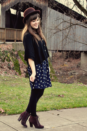 black Forever 21 top - dark brown Seychelles boots - navy sosie dress
