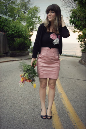 pink modcloth skirt - black Forever 21 top - black Gap cardigan - black Ralph La