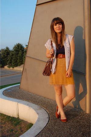 yellow rodarte for target via delightfully tacky skirt - blue Forever 21 top - w