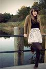 Green-h-m-cardigan-black-express-t-shirt-white-modcloth-skirt-brown-urban-