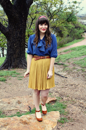 mustard modcloth skirt - ruby red modcloth accessories - navy modcloth top