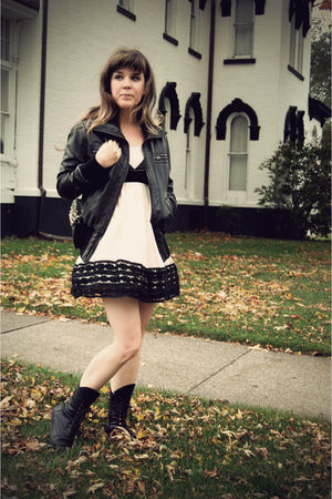 black be hip by me jane jacket - white modcloth dress - black Jeffrey Campbell b