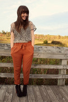 burnt orange Urban Outfitters pants - black Jeffrey Campbell boots