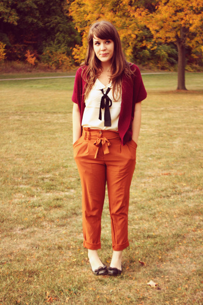 carrot orange Urban Outfitters pants - crimson modcloth cardigan