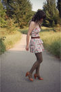 Pink-modcloth-dress-brown-urban-outfitters-shoes-green-american-apparel-tigh