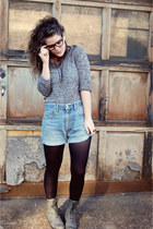 heather gray Forever 21 sweater - black Target tights - blue Urban Outfitters sh