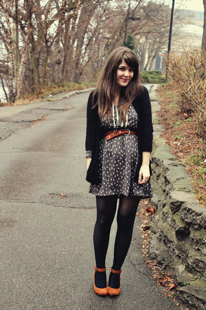 tawny thrifted belt - heather gray Ruche dress - black Urban Outfitters cardigan