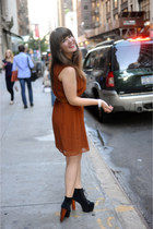 burnt orange H&M dress - black Jeffrey Campbell heels