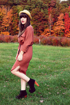 beige modcloth hat - burnt orange urban1972 dress - black Jeffrey Campbell heels