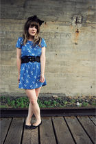 blue kimchi via urban outfitters dress - black Sam and Libby shoes - black Urban