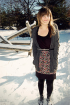 gray Urban Outfitters cardigan - pink Urban Outfitters skirt - black unknown tig