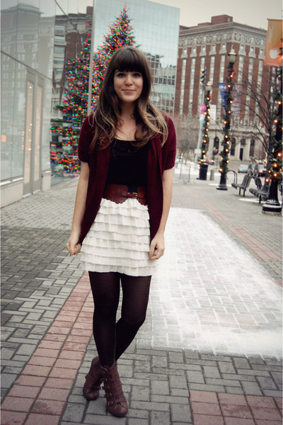 dark brown modcloth boots - black Forever 21 tights - crimson modcloth cardigan